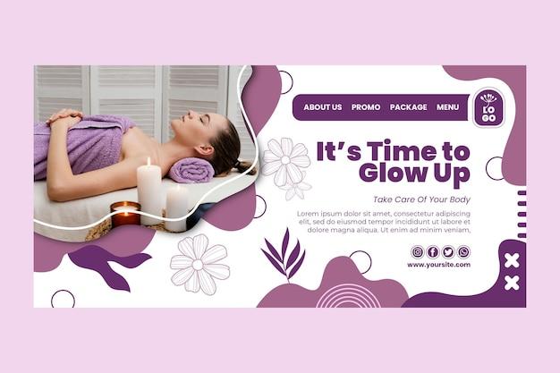 Beauty salon floral landing page Premium Vector