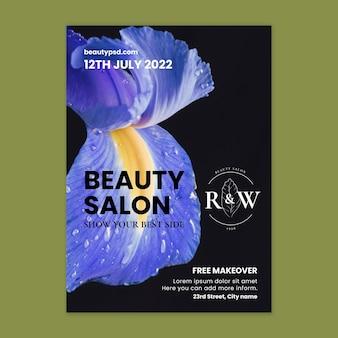 Beauty salon floral poster template