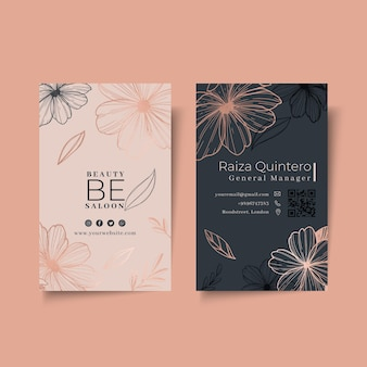 Beauty salon floral vertical business card