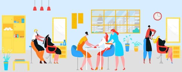 女性、美容師、マニキュアワークサービスのための美容院