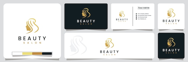 Beauty salon , haircut, with line art style and gold color , logo design inspiration