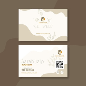 Beauty salon horizontal business card
