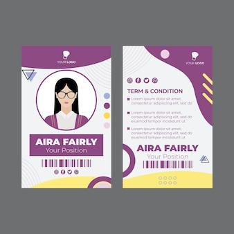Modello di carta d'identità del salone di bellezza