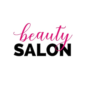 Beauty salon inscription with swirls
