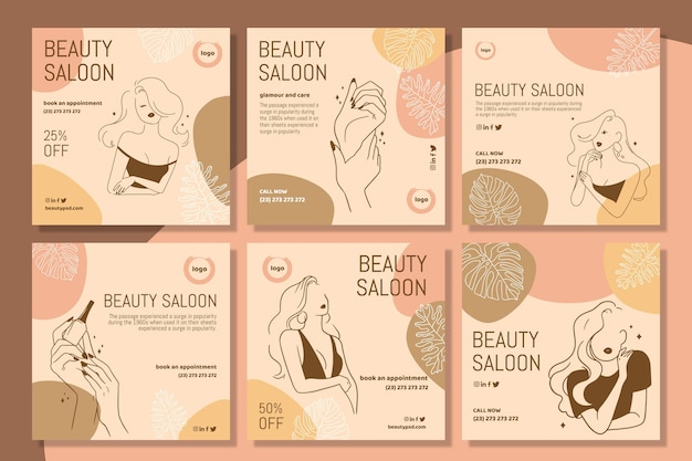 Beauty salon instagram posts template