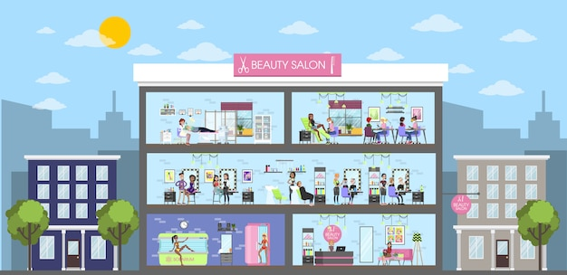 Beauty salon interior building in city. urban landscape.