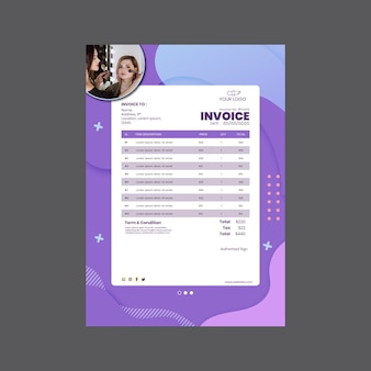 Beauty salon invoice print template