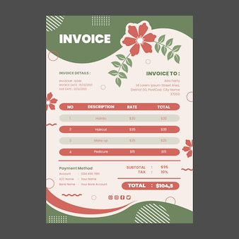 Beauty salon invoice template design