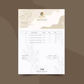 Beauty salon invoice template