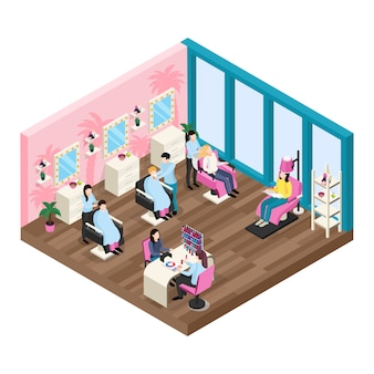 Beauty salon isometric composition