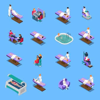 Beauty salon isometric set