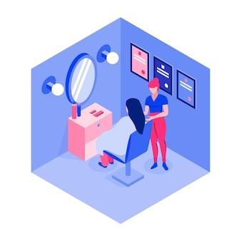 Beauty salon isometric view