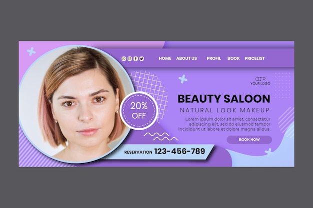 Beauty salon landing page template