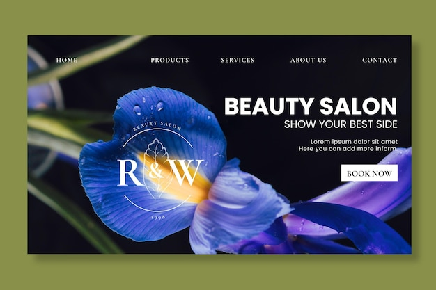 Modello di pagina di destinazione del salone di bellezza
