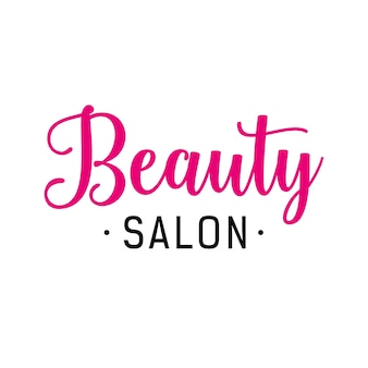 Beauty salon lettering in pink and black