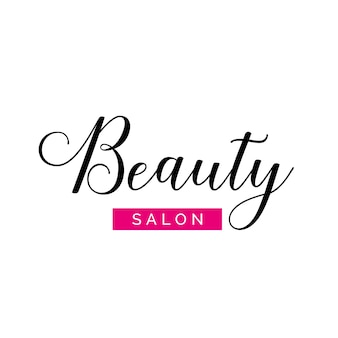 Beauty salon lettering with swirls