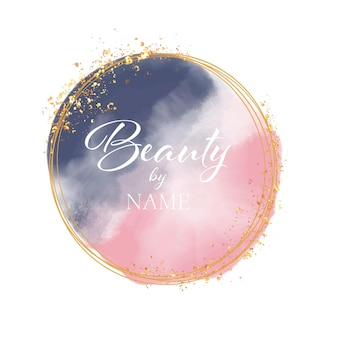 水彩とゴールドのキラキラデザインの美容院のロゴ