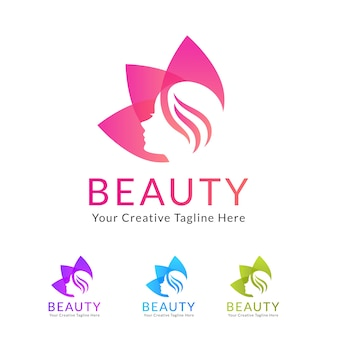 Beauty salon logo with flower