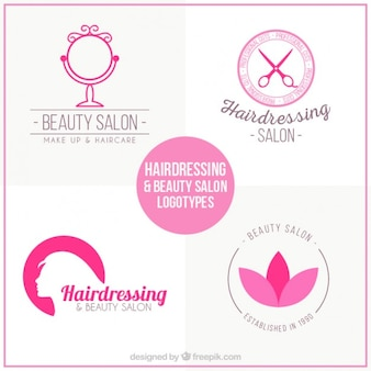 Beauty salon logos in pink color