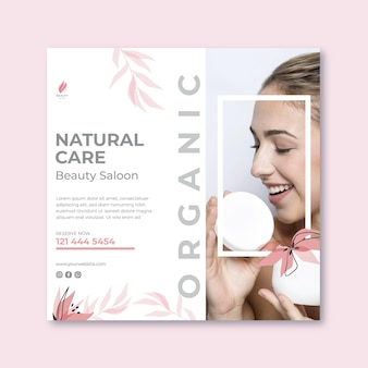 Beauty salon minimalist squared flyer