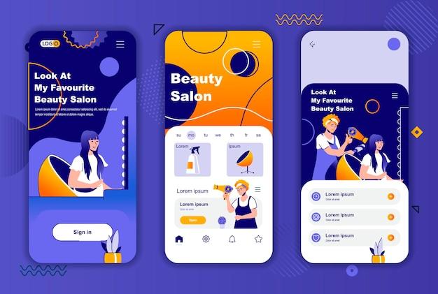 소셜 네트워크 스토리에 대한 뷰티 살롱 모바일 앱 화면 템플릿