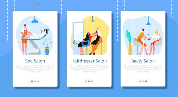 Мобильный комплект салона красоты, иллюстрация. страница сайта бизнес-услуг, приложение по уходу за кожей, лицом, волосами. спа-процедура на экране, стилист-парикмахер и персонаж женщин.