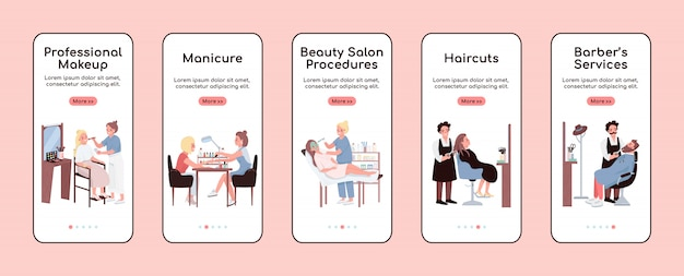 Beauty salon onboarding mobile app screen flat  template. professional make up. walkthrough website steps with characters. ux, ui, gui smartphone cartoon interface, case prints set