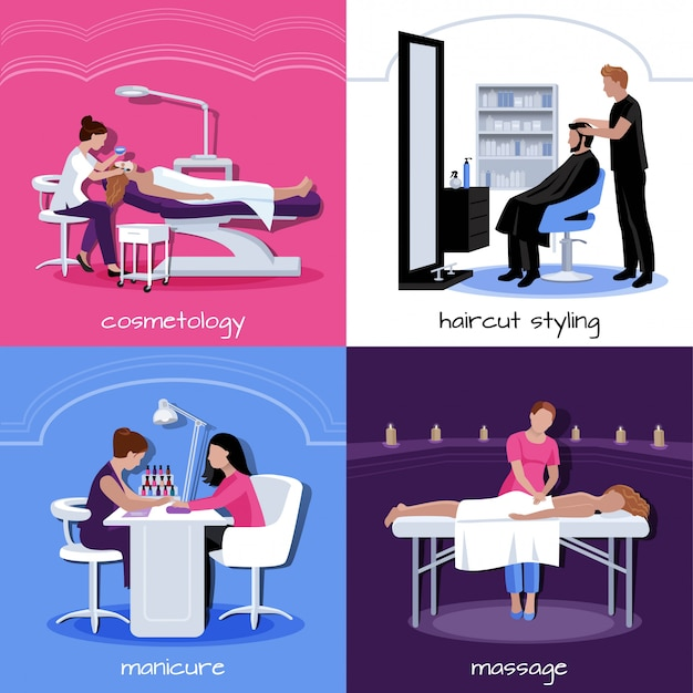 Beauty salon people concept with various relax stylish and cosmetic procedures in flat style isolated vector illustration