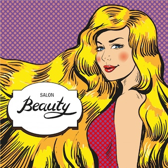 Beauty salon in pop art style