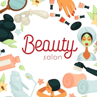 Beauty salon promotional illustration with equipment for procedures