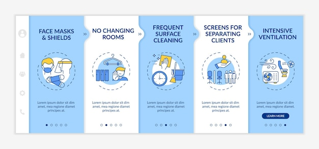 Beauty salon safety during pandemic onboarding  template. face masks. frequent surface cleaning. responsive mobile website with icons. webpage walkthrough step screens. rgb color concept