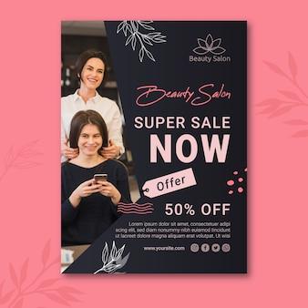 Beauty salon sale poster template