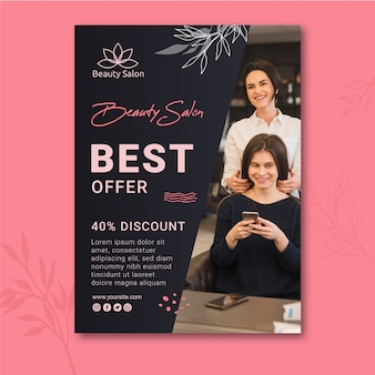 Beauty salon sale poster template