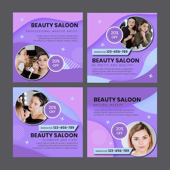 Beauty salon social media posts template