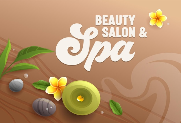 Beauty salon spa attributes as aroma candle, massage stones, eucalyptus leaves and frangipani plumeria flowers on wooden table surface background