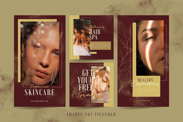 Beauty salon and spa instagram post and stories template