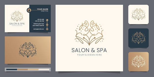 Beauty salon and spa logo with creative concept line art style abstract design and business card.