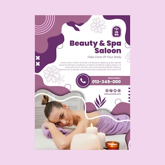 Beauty salon and spa poster template