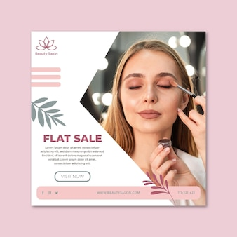 Beauty salon square flyer template
