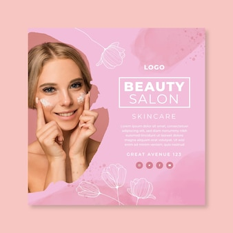 Beauty salon squared flyer template