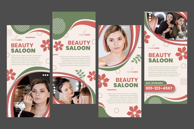 Beauty salon stories template design Free Vector