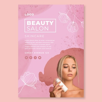 Beauty salon vertical flyer template