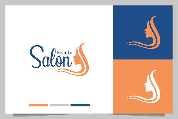 Beauty salon with beauty women logo design