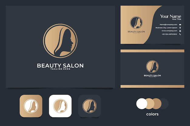 여성 머리 로고 디자인 및 명함 미용실. 살롱 및 스파 로고에 적합