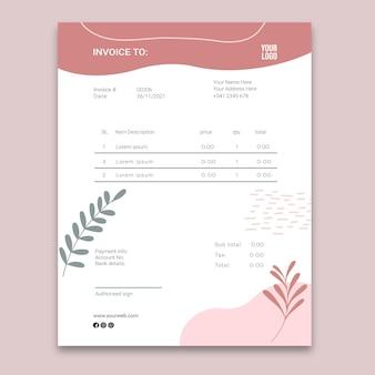 Beauty saloon invoice concept