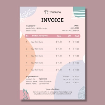 Beauty saloon invoice template