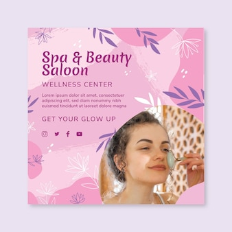 Beauty saloon square flyer template