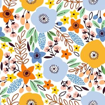 양귀비, 잎, 꽃으로 매끄러운 꽃무늬를 아름답게 만듭니다.