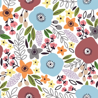 Beauty seamless floral pattern with poppy, leaves and flowers.