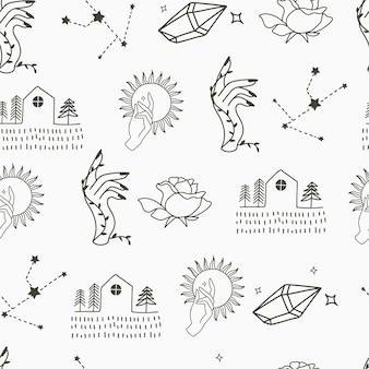 하우스 크리스탈 썬 문 뷰티 원활한 패턴 배경